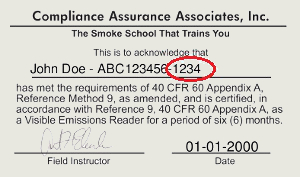 Certificate for 40 CFR 60 Appendix A, Method 9, Method 22, 203A, 203B, 203C opacity training